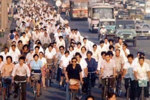 La începutul anilor 80 bicicleta era încă principalul mijloc de deplasare în China.