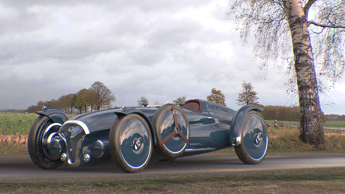 Helvezzia Tipo 6 de competiții în stilul anilor '40 cu propulsie electrică